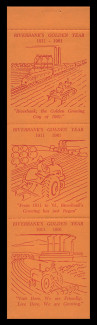 1963 (006) Riverbank, California's Golden Year Booklet Pane - Red on Orange with Shiny Gum