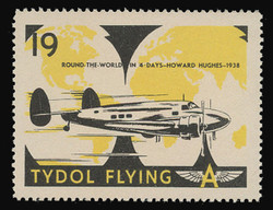 """Tydol Flying """"A"""" Poster Stamps of 1940 - #19, Howard Hughes - Round the World in 4 days, 1938"""