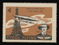 """Tydol Flying """"A"""" Poster Stamps of 1940 - # 4, Santos Dumont, Father of Modern Blimps"""