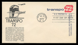 U.S. Scott #U565 8c TRANSPO '72 Envelope First Day Cover.  Anderson cachet, BLACK variety.
