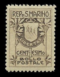 SAN MARINO Scott #   78a, 1910 1c Coat of Arms, brown, Type 1 (18½ mm)
