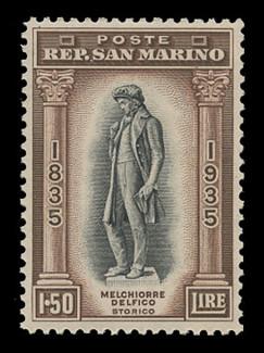 SAN MARINO Scott #  179, 1935 1.5 lire Melchiorre Delfico Statue, dark brown