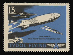"""Tydol Flying """"A"""" Poster Stamps of 1940 - #13, Graf Zeppelin, First Trans-Oceanic Air Service - 1928"""