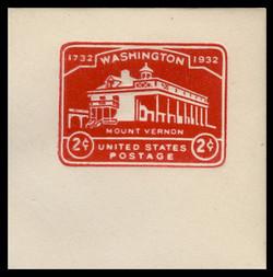 U.S. Scott # U 525, 1932 2c Washington Bicentennial, Die 1 - Mint Full Corner
