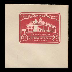 U.S. Scott # U 525a, 1932 2c Washington Bicentennial, Die 2 - Mint Full Corner