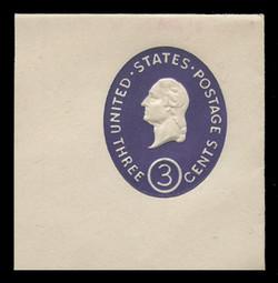 U.S. Scott # U 534b, 1950 3c Washington, Die 2 - Mint Full Corner