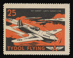 """Tydol Flying """"A"""" Poster Stamps of 1940 - #25, """"Sky Hornet - Curtis Pursuit, P-40"""