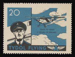 """Tydol Flying """"A"""" Poster Stamps of 1940 - #20, Coast to Coast - 31 Hours, 30 Dollars"""