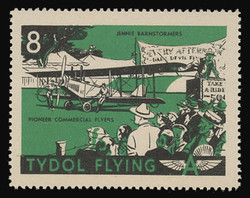 """Tydol Flying """"A"""" Poster Stamps of 1940 - # 8, Jennie Barnstormers, Pioneer Commercial Flyers"""