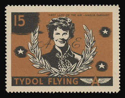 """Tydol Flying """"A"""" Poster Stamps of 1940 - #15, Amelia Earhart - """"First Lady of the Air"""""""