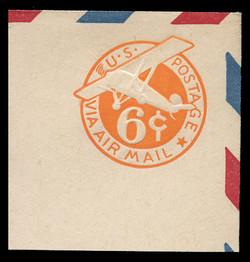 U.S. Scott # UC  6 1942 6c Plane, Orange Background, Die 3, Border b(2) - Mint Full Corner (See Warranty)