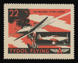 """Tydol Flying """"A"""" Poster Stamps of 1940 - #22, The Airacobra - """"Flying Cannon"""""""
