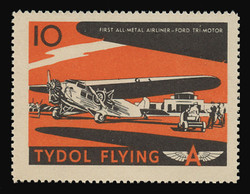 """Tydol Flying """"A"""" Poster Stamps of 1940 - #10, First All-Metal Airliner - Ford Tri-Motor"""