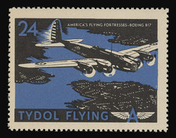 """Tydol Flying """"A"""" Poster Stamps of 1940 - #24, America's Flying Fortresses - Boeing B17"""