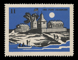 Chicagoland Poster Stamps of  1938 - # 11 Fort Dearborn, 1803