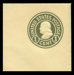 U.S. Scott # U 421, 1915-32 1c Franklin, green on amber, Die 1 - Mint Full Corner
