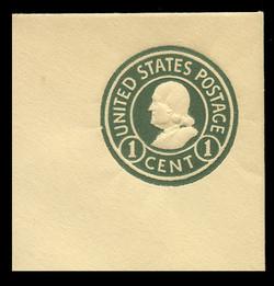 U.S. Scott # U 421b, 1915-32 1c Franklin, green on amber, Die 3 - Mint Full Corner