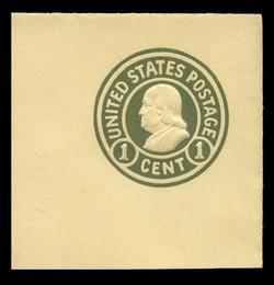 U.S. Scott # U 421d, 1915-32 1c Franklin, green on amber, Die 5 - Mint Full Corner