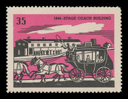 Chicagoland Poster Stamps of  1938 - # 35 Stage Coach Building, 1844