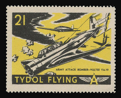 """Tydol Flying """"A"""" Poster Stamps of 1940 - #21, Army Attack Bomber - Vultee YA-19"""