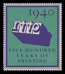 1940 (001) 500 Years of Printing Poster Stamp, Perforated