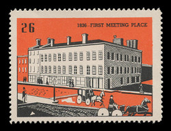 Chicagoland Poster Stamps of  1938 - # 26 First Meeting Place, 1836