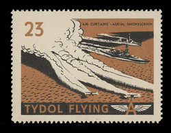 """Tydol Flying """"A"""" Poster Stamps of 1940 - #23, """"Air Curtains"""" - Aerial Smokescreen"""