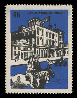 Chicagoland Poster Stamps of  1938 - # 46 McVicker's Theatre, 1857