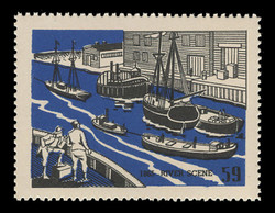 Chicagoland Poster Stamps of  1938 - # 59 River Scene, 1865