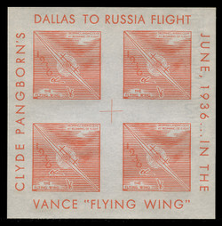 1936 (003) Clyde Pangborn Dallas to Russia Flight Poster Stamp Souvenir Sheets - Orange