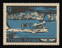 """Tydol Flying """"A"""" Poster Stamps of 1940 - # 9, Wings Across the Atlantic - NC-4 - 1919"""