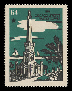 Chicagoland Poster Stamps of  1938 - # 64 Chicago Avenur Water Tower, 1869