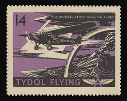 """Tydol Flying """"A"""" Poster Stamps of 1940 - #14, """"The Southern Cross"""" Spans the Pacific"""
