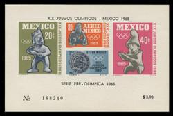 MEXICO Scott # C 310a, 1965 1968 Olympics, Souvenir Sheet of 4, Imperforate