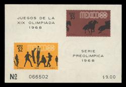 MEXICO Scott # C 338a, 1968 1968 Olympics, Souvenir Sheet of 2, Imperforate