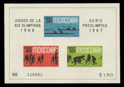 MEXICO Scott #  983a, 1967 1968 Olympics, Souvenir Sheet of 3, Imperforate