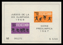 MEXICO Scott #  985a, 1967 1968 Olympics, Souvenir Sheet of 2, Imperforate