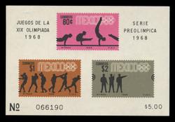 MEXICO Scott # 995a, 1968 1968 Olympics, Souvenir Sheet of 3, Imperforate
