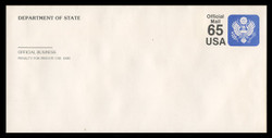 U.S. Scott # UO 082 1990 65c Official Mail, small lettering clear - Mint Passport Envelope, UPSS Size 21A