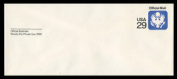 U.S. Scott # UO 084R 1991 29c Official Mail, white background, Recycled - Mint Envelope, UPSS Size 23