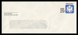 U.S. Scott # UO 084R 1991 29c Official Mail, white background, Recycled - Mint Envelope, UPSS Size 23-WINDOW