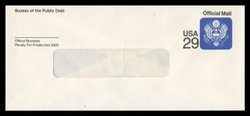 U.S. Scott # UO 085R 1991 29c Official Mail, detailed background, Recycled - Mint Savings Bond Envelope, UPSS Size 19B