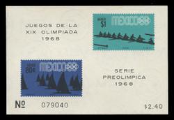 MEXICO Scott # C 336a, 1968 1968 Olympics, Souvenir Sheet of 2, Imperforate