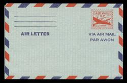 U.S. Scott # UC 16 1947 10c DC-4 Skymaster, Air Letter Front, 2-Line Back - Mint Air Letter Sheet