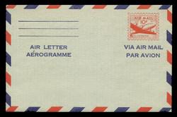 U.S. Scott # UC 16d 1955 10c DC-4 Skymaster, Air Letter/Aerogramme Front, 2-Line Back - Mint Air Letter Sheet