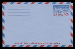 U.S. Scott # UC 32 1959 10c Jet Airliner, Type II, 2-Line Back - Mint Air Letter Sheet
