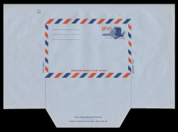 U.S. Scott # UC 38D 1965 11c President John F. Kennedy, Die Cutting Reversed - Mint Air Letter Sheet, UNFOLDED