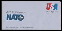 U.S. Scott # UC 49 1974 18c 25th Anniversary of NATO - Mint Air Letter Sheet