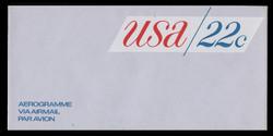 U.S. Scott # UC 50 1976 22c U.S.A., Red & Blue - Mint Air Letter Sheet