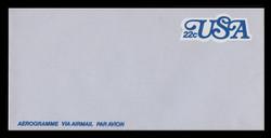 U.S. Scott # UC 51 1978 22c U.S.A., Blue - Mint Air Letter Sheet